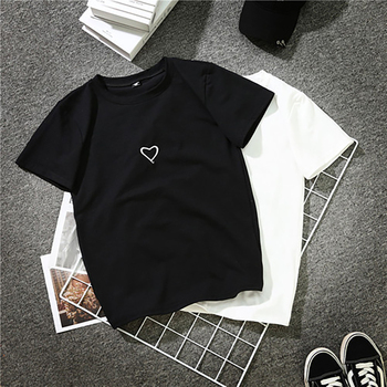 Redondo Coreano Hip Harajuku Nez0005 Manga Cuello Moda Impresa Letra Hop Tops Mujer Camiseta Algodón Corta 2018 Estilo Nwm8nv0