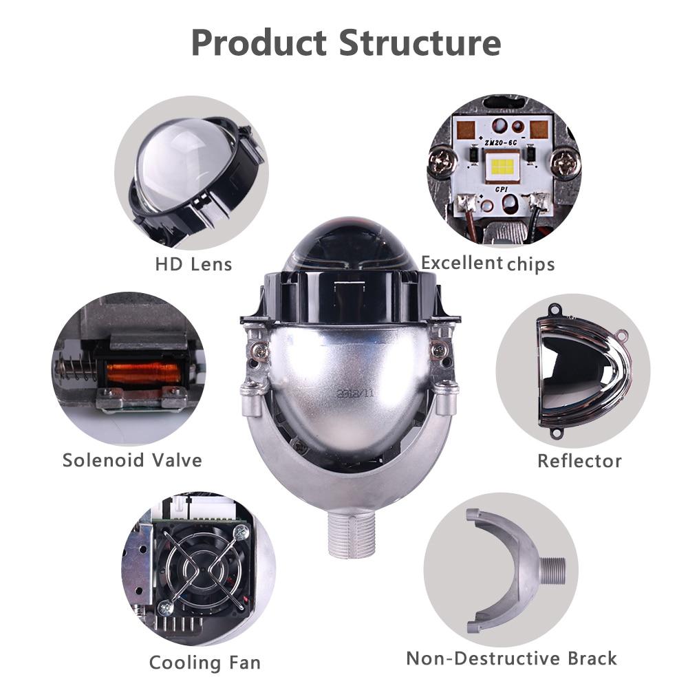 Sanvi 2.5 '' 35 W 5500 K Bi LED Projektör Lens Far Merhaba Düşük - Araba Farları - Fotoğraf 2