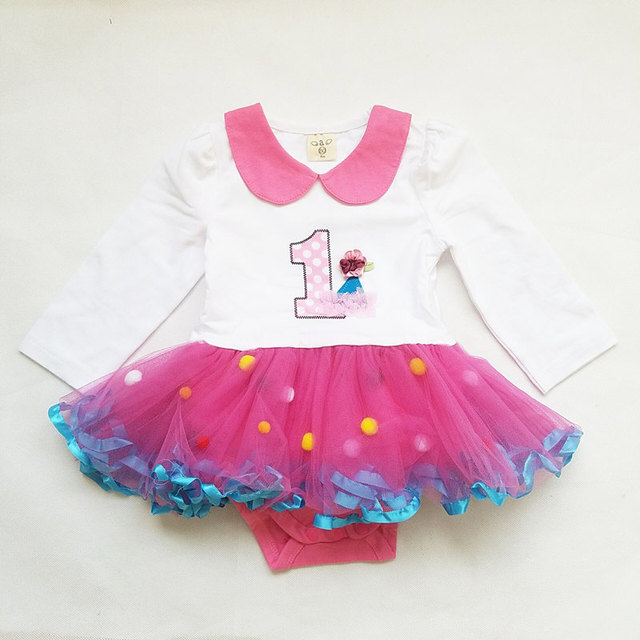 8bb6d7d1f008f Baby Girl Rompers Long Sleeve 1 Years Old Birthday Romper Cotton Newborn  Romper Tutu Dress Baby Girl Rompers Infant Clothes-in Dresses from Mother &  ...