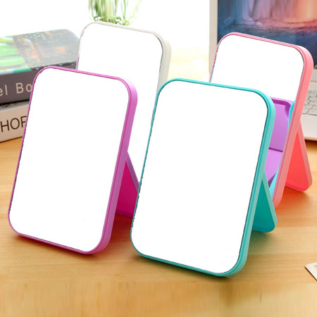 Desktop Foldable Makeup Mirror Rectangle Small Folding Stand Cosmetic Mirror Lady Girl Compact Portable Pocket Mirror Espejo