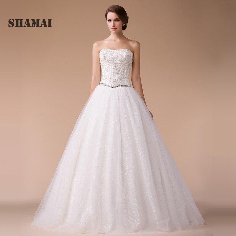 SHAMAI 2018 Wedding Dresses Women Pearl Crystal Gowns Strapless Appliques Bride Dress Vestido De Noiva Custom Made Wedding Dress