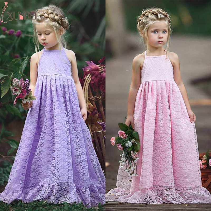 Lace   Flower     Girl     Dresses   2018 Halter Pageant   Dresses   For   Girls   Kids Prom   Dresses   Communion   Dresses   vestidos infantil de festa