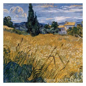 Wall art Champ De Ble Vert Avec Cypres by Vincent Van Gogh paintings on canvas Handmade High quality