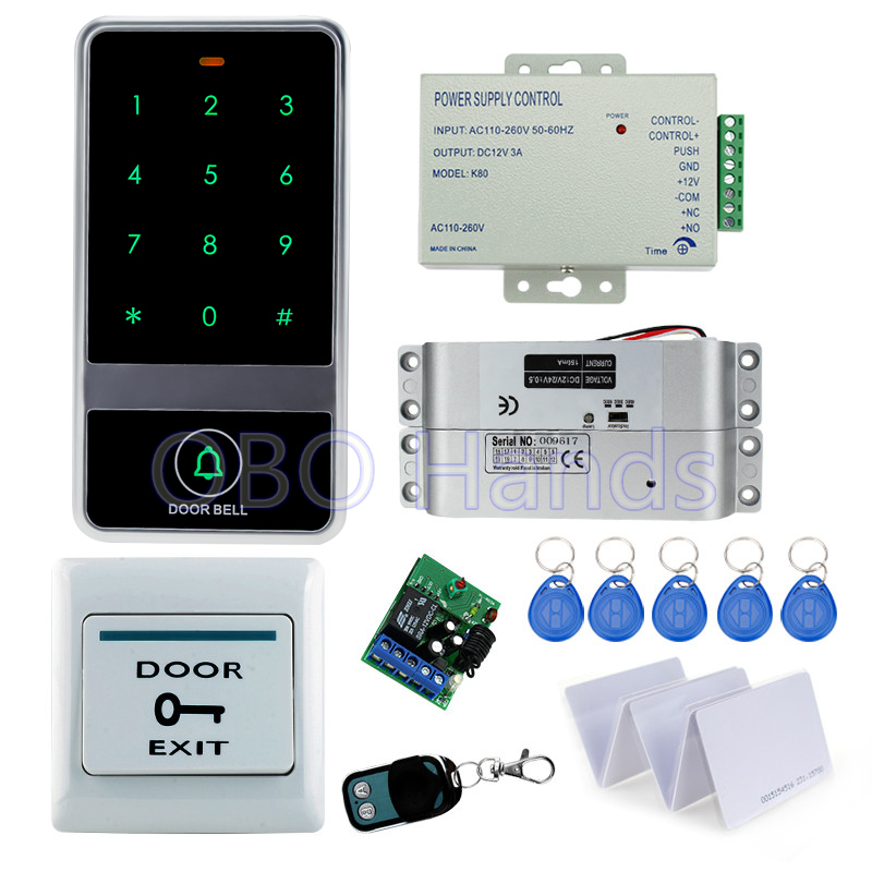 Metal RFID door access control card reader touch keypad C60 model with electric drop bolt lock+3A/12V power supply free shipping waterproof touch keypad card reader for rfid access control system card reader with wg26 for home security f1688a