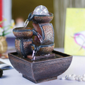 Wealth bring water fountain Fengshui crafts home decoration new year gifts office desk business gifts tan color antique design