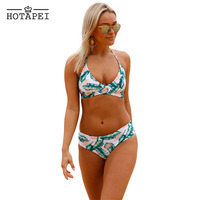 Hotapei Swimwear Leaf Print Cross Top Bikini Women Push Up Padded Bra Bandage Bikini Set Swimsuit