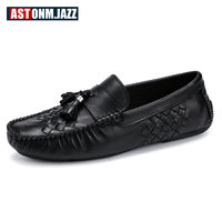 Men S Casual Genuine Leather Shoes Slip On Velet Loafers Driving Shoes Fahion Boat Shoe Mens