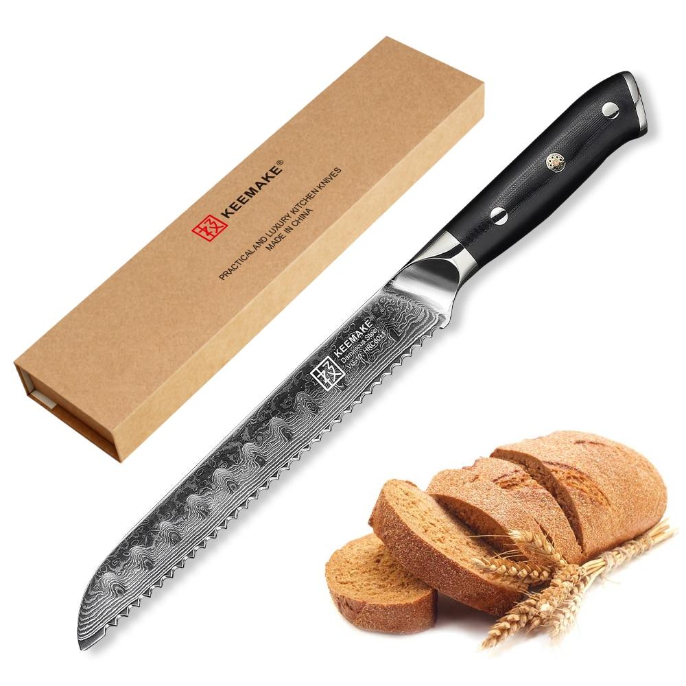 """Ev ve Bahçe'ten Mutfak Bıçakları'de KEEMAKE 8 """"inç Ekmek Bıçağı Mutfak Bıçakları 73 Katmanlar Şam Yüksek Kaliteli VG10 Çelik Jilet Keskin Kesme Aletleri G10 kolu'da  Grup 1"""