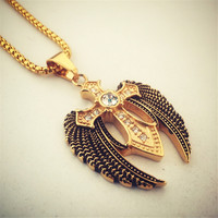 trendy Golden Crystal Iced Out Cross Pendant Angel Wings Charm Necklaces Cuban Link Chain Heavy Jewelry