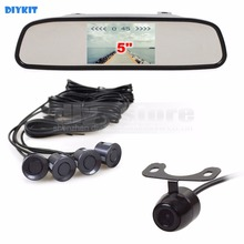 DIYKIT 5 Inch Rear View Mirror Automotive Monitor Equipment + Rear View Automotive Digicam Video Parking Radar + four Sensors