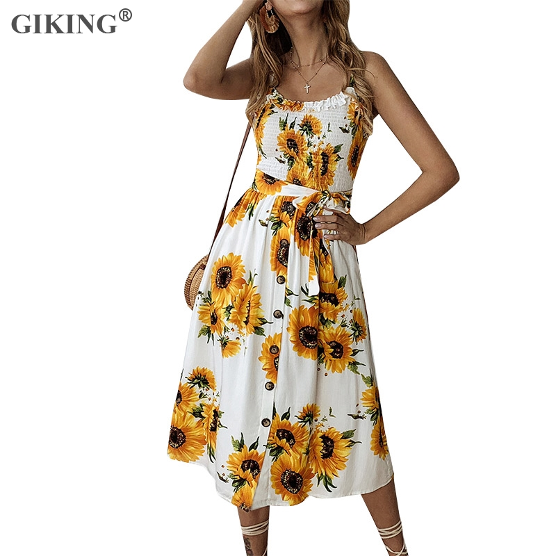 GIKING femmes été vacances robe imprimé Floral tournesol Spaghetti sangle dos nu Boho robes de soirée boutons avec ceintures Vestidos