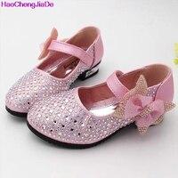 HaoChengJiaDe אופנה נעלי עור נצנצים יהלומים מלאכותיים נעלי בנות ילדי סתיו בנות נעלי נסיכה ורוד כסף זהב