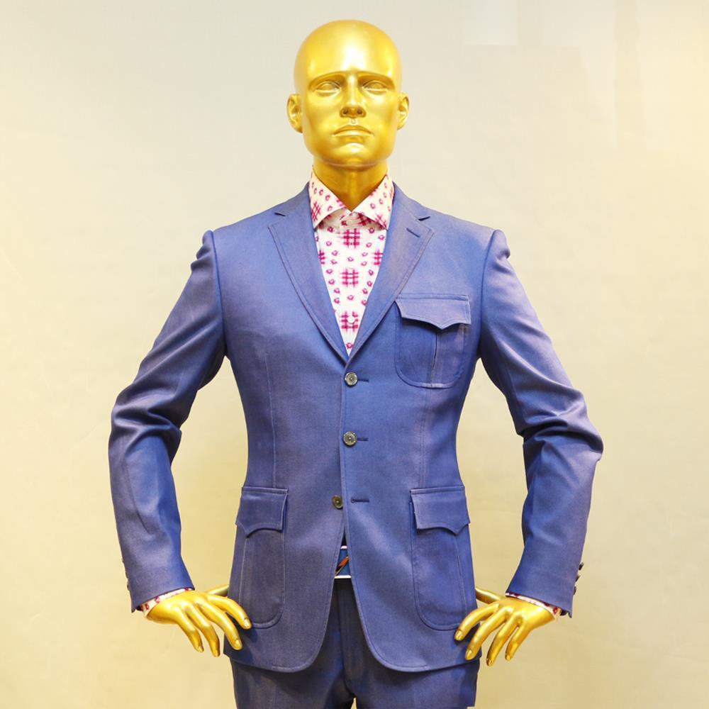 light blue font b jeans b font cotton two pieces casual suit custom tailor made man