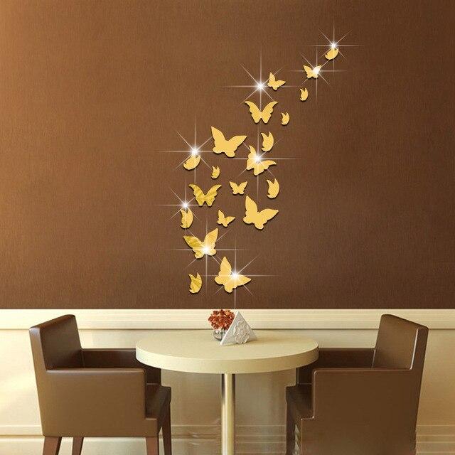 Butterfly Mirror Wall Stickers Ayna Dekorasyon 3D Acrylic Sticker for Kids Rooms DIY Muurstickers Pegatinas Paredes Decoracion