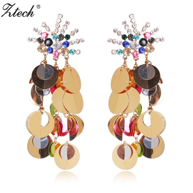Rétro Femmes Cercle Acrylique Strass Fleur Statement Dangle Drop Boucles d/'oreille cadeau