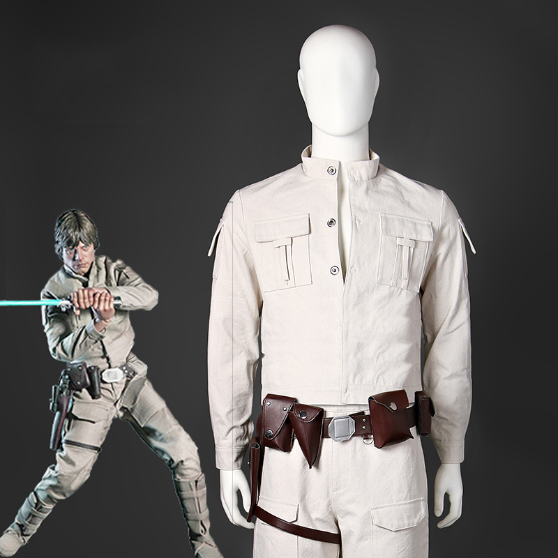 Star Wars Jedi Knight Luke Skywalker Cosplay Costumes Halloween Party White Full Sleeve Canvas Uniform For Adult Men Custom Made