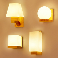 Modern Nordic wood glass lampshade Wall Lamps E27 decorative bedroom bedside lighting corridor living room wall lamps