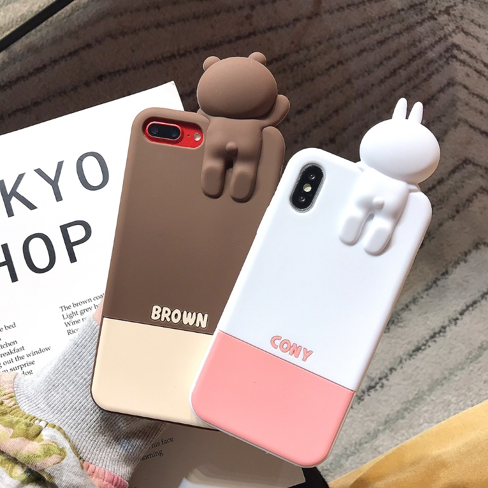 ZRICKIE 3D Cartoon Silicone Case for iPhone X Brown Bear Cony Rabbit Sally Chick Cover for iPhone XS XS MAX iPhone 6 7 8 Plus in Fitted Cases from Cellphones Telecommunications