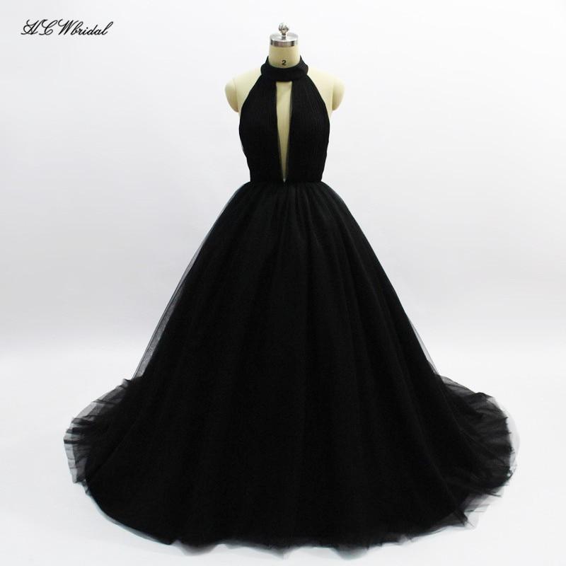 Simple Black Long Evening Dress 2018 Backless Halter Tulle Princess Prom Gowns Vestido De Formatura Custom Made Formal Dresses