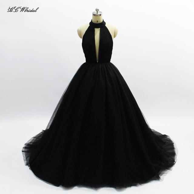 Simple Black Long Evening Dress 2018 Backless Halter Tulle Princess ...