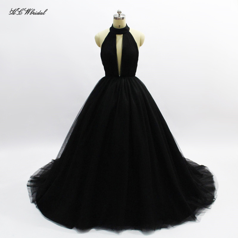 Simple Black Long   Evening     Dress   2019 Backless Halter Tulle Princess Prom Gowns Vestido De Formatura Custom Made Formal   Dresses