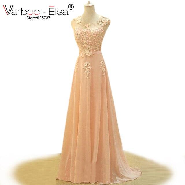 c9e96869114 2018 elegant new design pink evening dress a-line long chiffon prom dress  slim round neck lace appliques long evening gowns