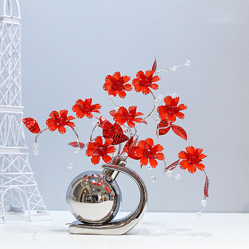 European modern creative vase household adornment fashion contracted sitting room TV ark crystal flower crafts wedding gifts in Figurines Miniatures from Home Garden