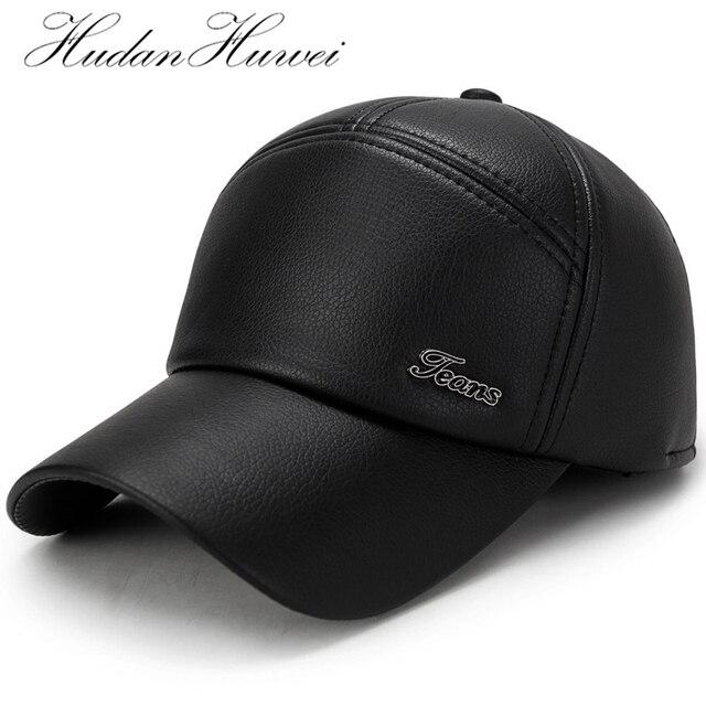 Invierno PU cuero Hombre bombardero orejeras sombrero hombres sombrero  gorras de béisbol calientes con orejeras algodón b5a9db822a2