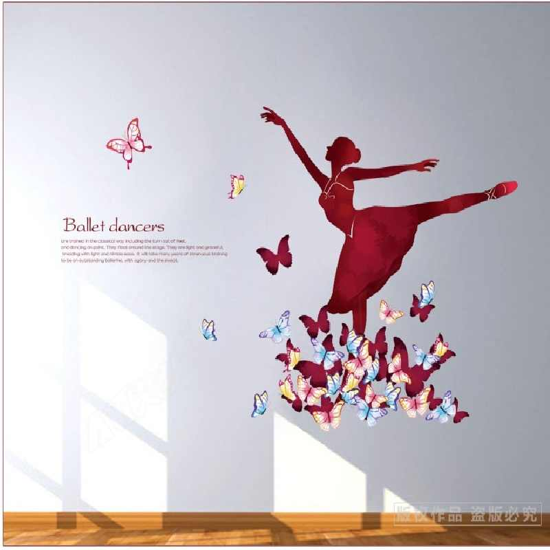 Ballet Dancers Wall Stickers For Study Room Home Decoration Background Pvc Plane Portrait Mural Door Diy Wallpaper Top Rushed