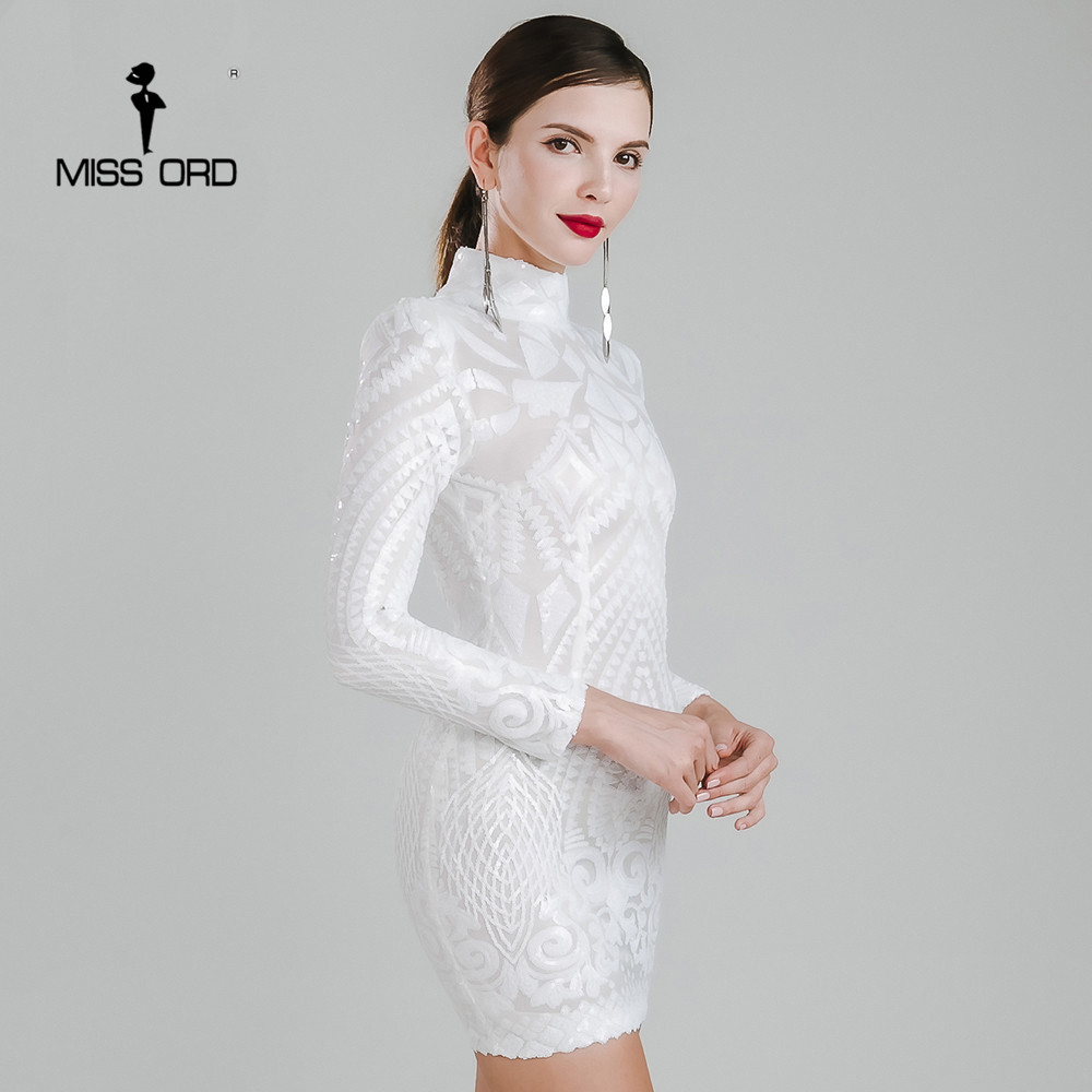 Missord 2016 Sexy High Necked Long Sleeved Sequin Dress FT4735