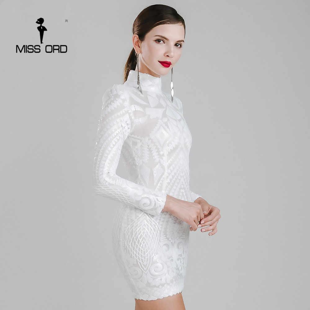 7a672582096 Missord 2019 сексуальное платье с высоким воротником и длинными рукавами с  пайетками FT4735