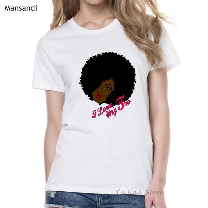 原宿メラニンポッピンシャツクラウン tシャツ女性黒アフリカカーリー髪の少女 tシャツファム夏トップス女性の tシャツ