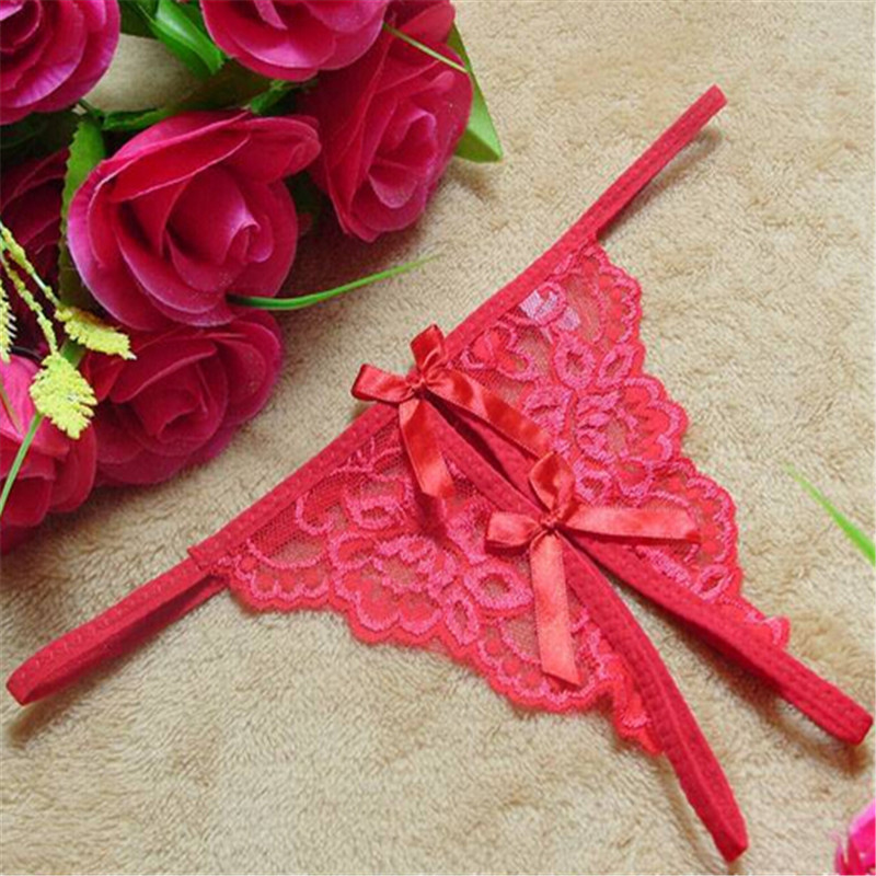 New Arrival Fashion Sexy Lingerie Ladies Underwear Lace Transparent Bowknot Thong Underwear Women Sexy CC2283