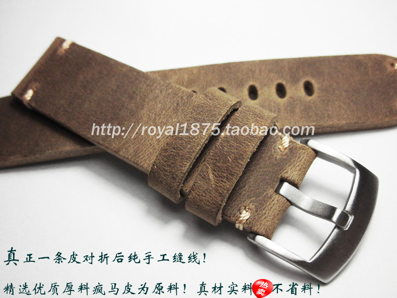 Retro Brown High Quality Handmade Straps Men's 18 19 20 21 22mm watch band Matte Leather steel buckle For MIDO IWC Tissot Seiko