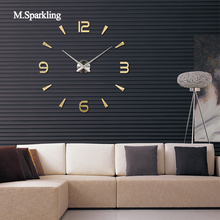 M.Sparkling digital wall clock brief single face living room large DIY home decoration 3D acrylic mirror needle