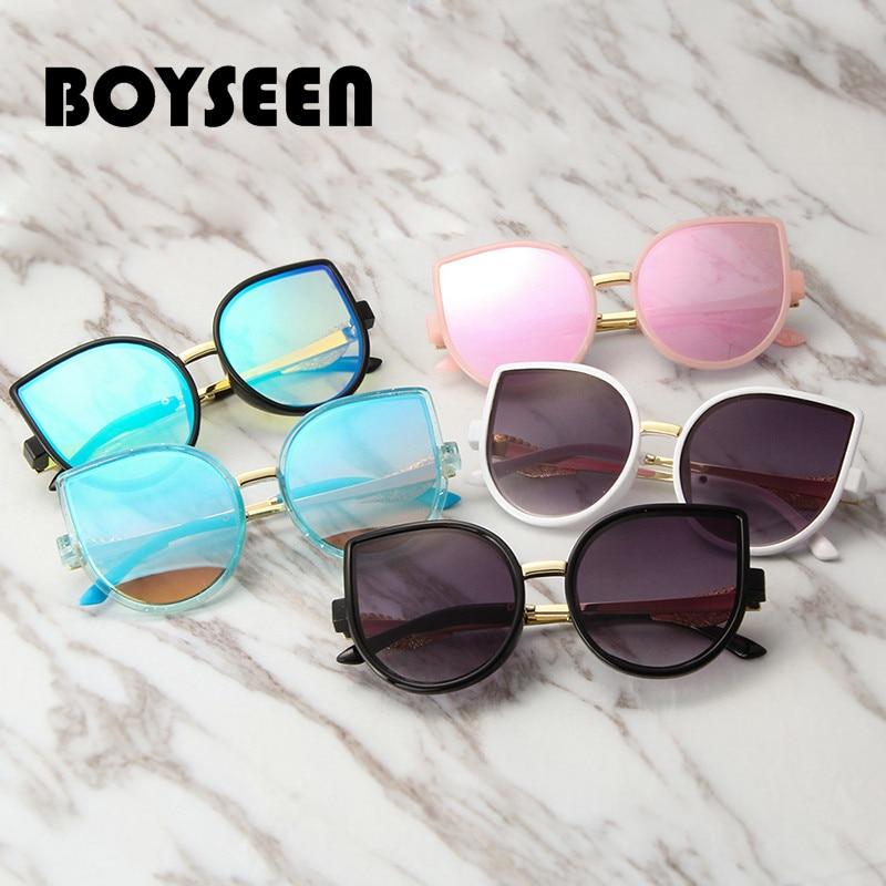 Boyseen Child Vogue Massive Body Cat's Eye Little one Sun shades Child Metallic Solar Glasses Boy Woman Glasses Anti-Uv400 1807