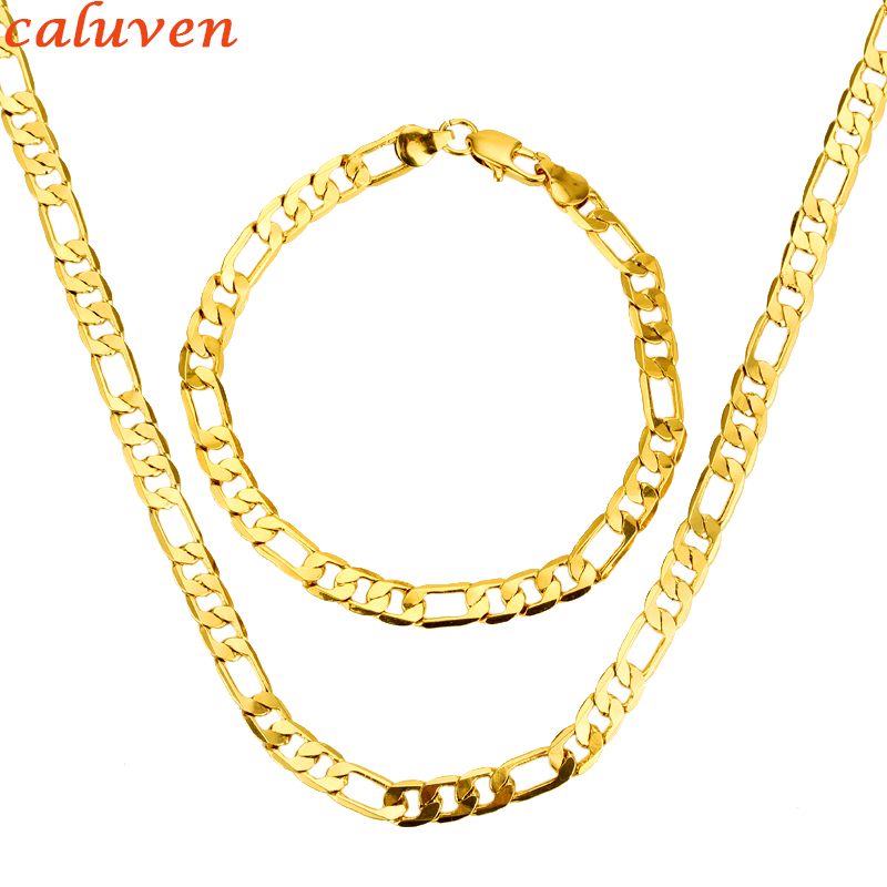 Men Jewelry Set Gold Color...