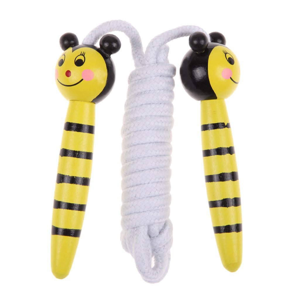 Childrens Wooden Handle Skipping Rope Animal Colourful Cartoon Zoo