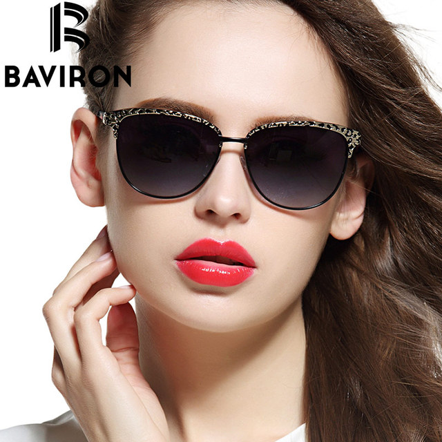 BAVIRON Cat Eye Sunglasses Women Gradient Polarized Sun Glasses Female Aluminum Coating Relief Casual Outfits Glasses Gafas 2633