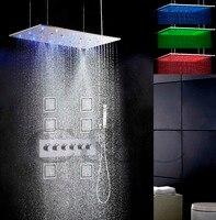 Ванная комната ванны и душа комплект 800X400mm распыления Swash и осадков светодиодный 3 цвета Температура чувствительной Насадки для душа