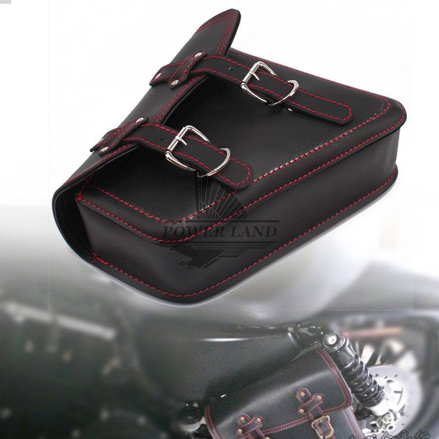 1Pcs Black PU Leather Red Line Motorcycle Luggage Side Saddle Bags Rider Motorbike Panniers For Harley Sportster XL 883