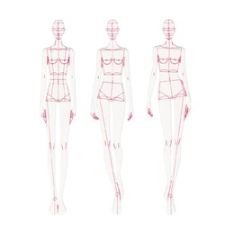 Moda régua linha de moda desenho modelo dinâmico humano para renderização de pano