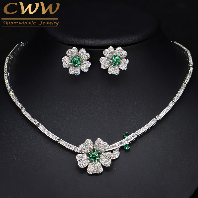 CWWZircons Brand Elegant Micro Pave Green CZ Zirconia Stone Flower Choker Necklace Earring Fashion Jewelry Sets For Women T091 2018 new clip no pierced jewelry young girl women delicate micro pave black cz stack 925 silver fashion elegant ear cuff earring