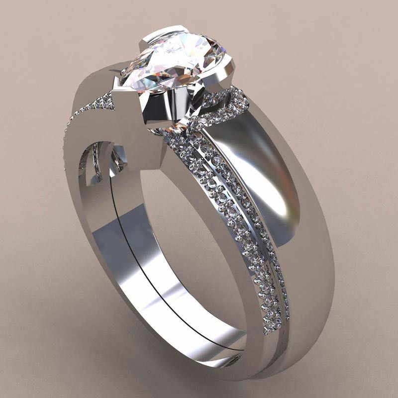 יוקרה נקבה זירקון אבן טבעת סט ייחודי סגנון קריסטל כסף זהב צבע כלה טבעת אירוסין הבטחת טבעות לנשים