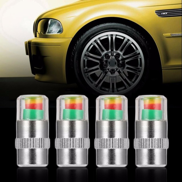 kebidumei 4 PCS/Lot 2.4 Bar Car Auto Tire Pressure Monitor Valve Stem Caps Cover Sensor Indicator Alert