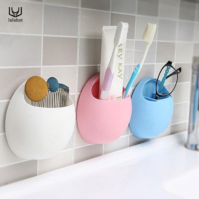 Luluhut support de rangement en forme d'oeuf brosse à dents cuillère fourchette support d'aspiration mural salle de bains cuisine organisateur montage mural ventouse