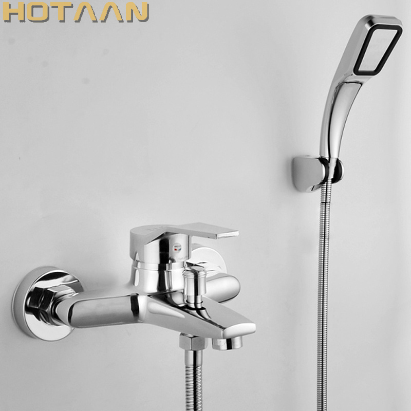Free shipping Polished Chrome Finish New Wall Mounted shower faucet Bathroom Bathtub Handheld Shower Tap Mixer