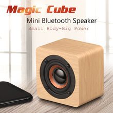 Panas Mini Kayu Bluetooth Speaker Nirkabel Portable HI FI Big Power Shock Suara Soundbar Magic Cube Kayu Speaker(China)
