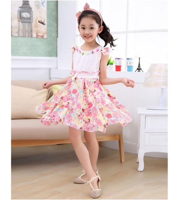 6e60ce55a737 FLY KIDS 2015 wholesale children s clothing summer baby little Girls floral midi  dress cute sundress vest dresses for girl FW684