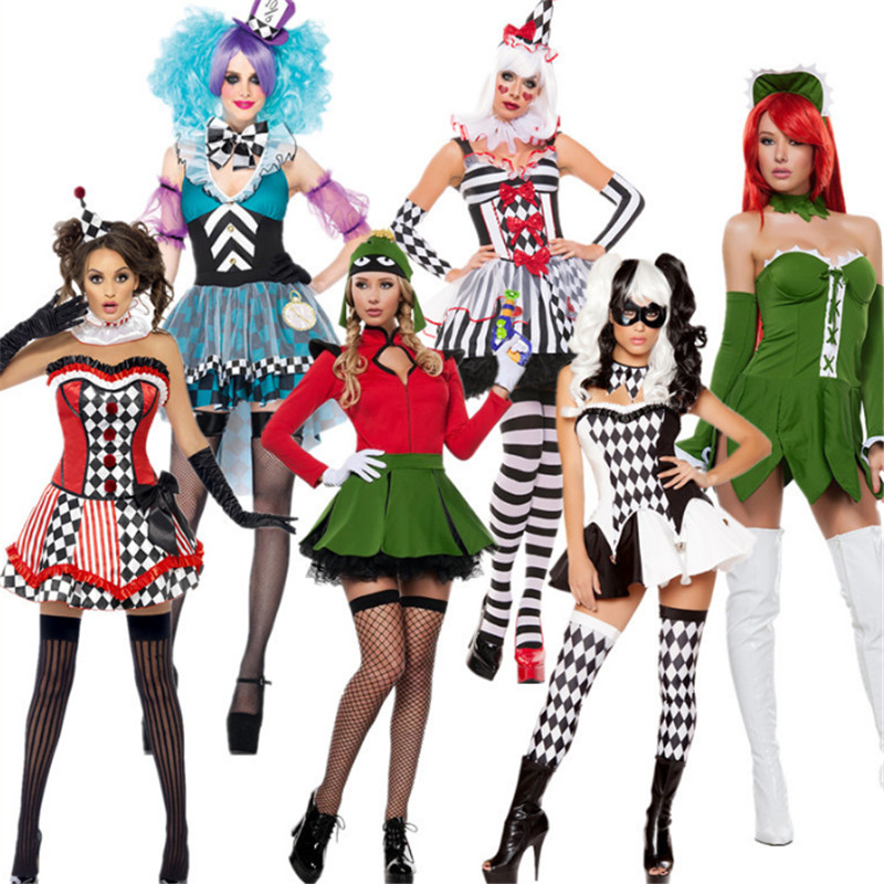 high quality Sexy Circus Clown Costume Party Cosplay Adult  Fancy Clown Dress Sexy terror clothing halloween costumes for women